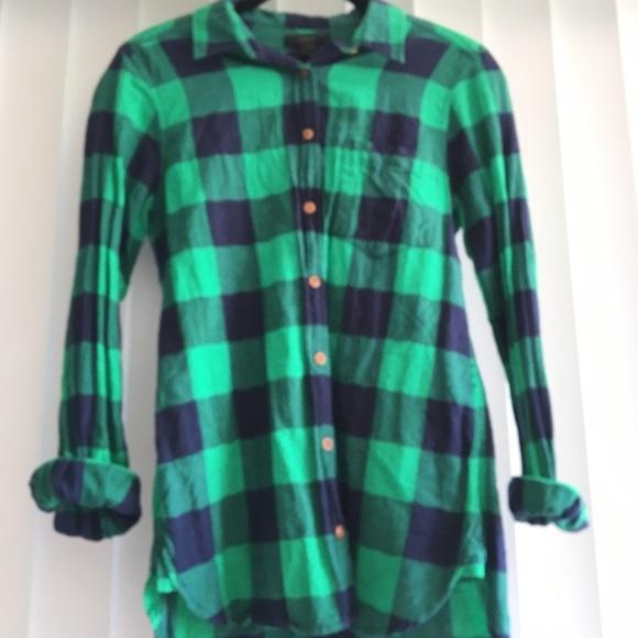 ab506fcd615a58 J. Crew Tops   Jcrew Shrunken Boy Shirt In Emerald Buffalo Check ...